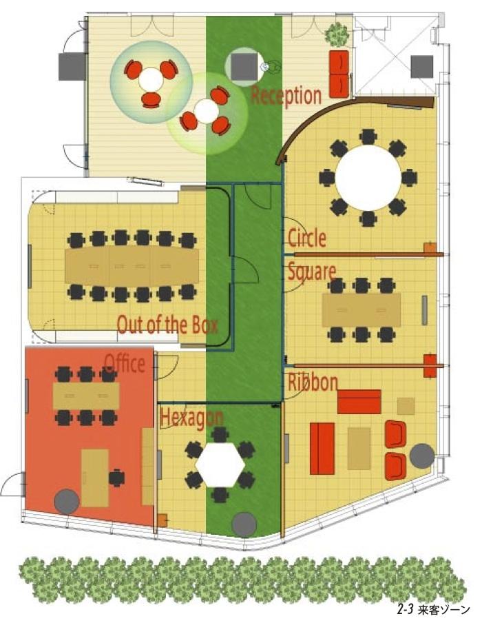おしゃれな装飾でボタニカルガーデンを表現したオフィスデザイン事例
