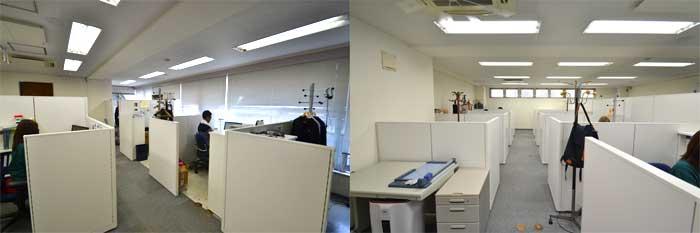 個人ブースを基本にレイアウトを組み込んだオフィスデザイン事例