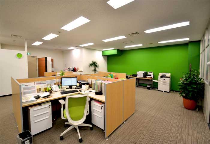 優しいグリーンでまとめた、40坪のアットホームなオフィスデザイン事例