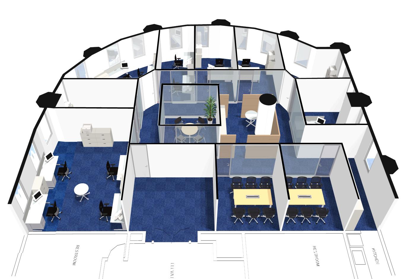 オフィスレイアウトや全体イメージ把握に役立つ「オフィスパース(鳥瞰図)」